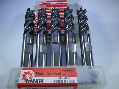 Lot 5 Pcs Hanita Varimill Tm4v05 Solid Carbide 12 End Mills Milling Tools