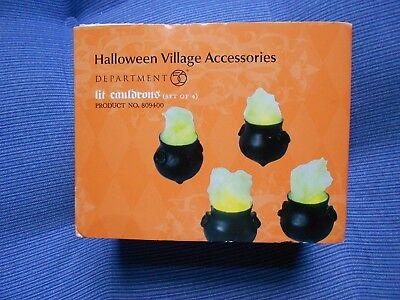 DEPT 56 HALLOWEEN VILLAGE Accessory LIT CAULDRONS (B) *Store Display*