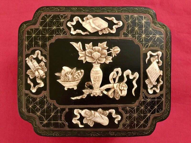 Antique LACQUER BOX High Relief CARVED BONE Hand Painted Chinese Asian Cow