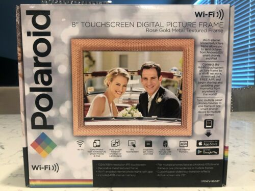 """POLAROID 8"""" Touchscreen Digital Picture Frame Rose Gold Metal Textured WiFi NEW!"""