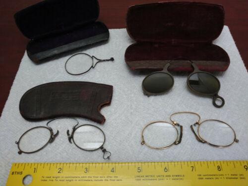 Antique physician doctor jewelers magnifying Lorgnette bridge glasses EYEGLASSES