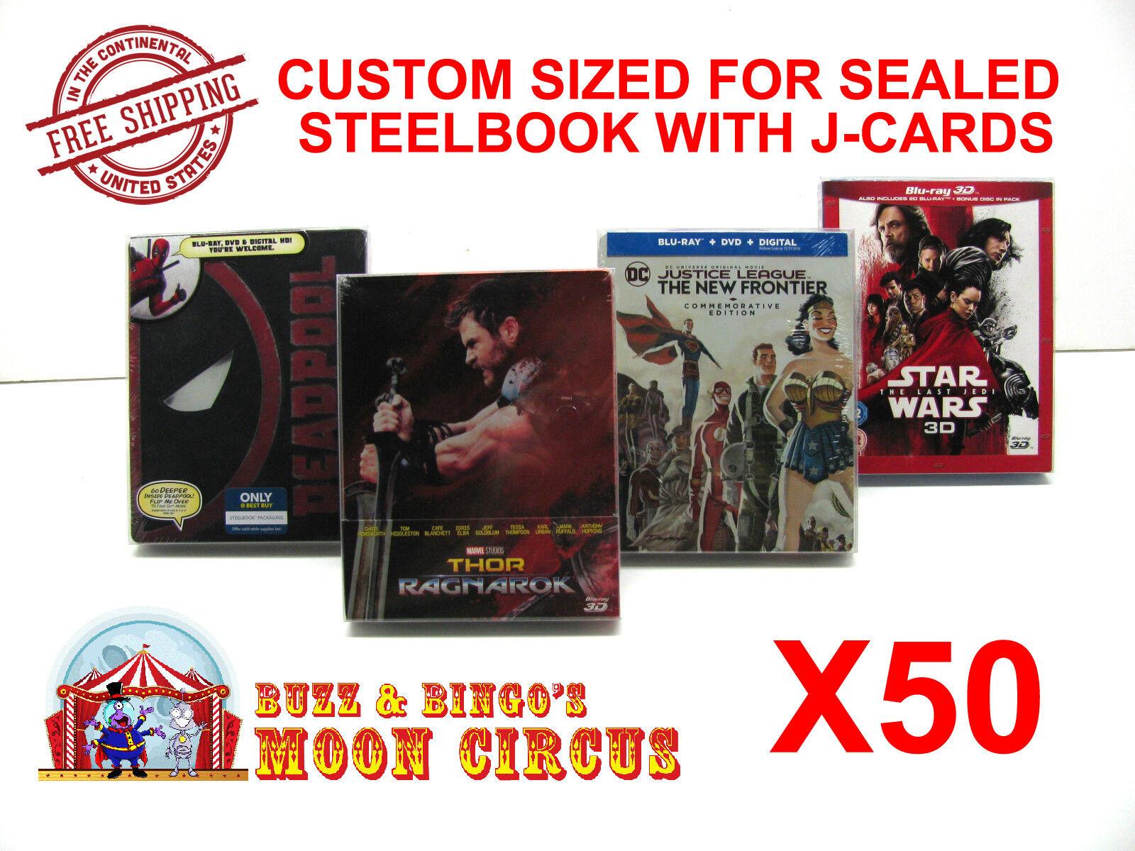 50x BLU-RAY STEELBOOK PROTECTIVE SLEEVE- BOX PROTECTORS- WITH J-CARD CUSTOM SIZE