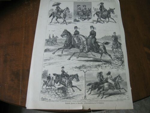 1884 Art Print ENGRAVING - AMERICAN WOMEN Horse Riders SIDE SADDLE Equestrian