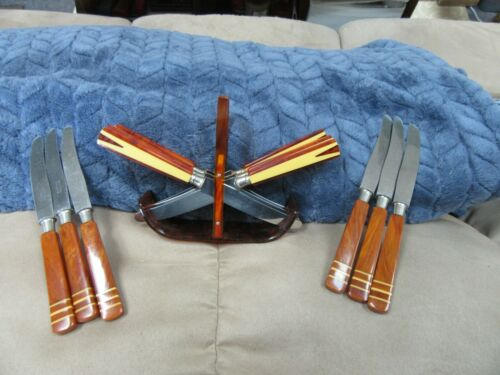 VINTAGE MCM ROSTFREI SOLINGEN BAKELITE KNIFE SETS OF 6 & HOLDER BUTTERSCOTCH