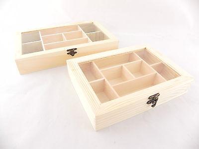 scatola scomparti legno per decoupage porta bustine the zucchero perle top vetro