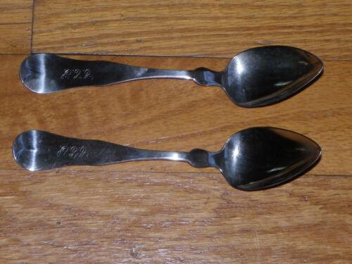 """Set Of 2 Antique 5 3/4"""" Coin Silver Teaspoons-R K Twambley-Saco, ME-1849-1877"""