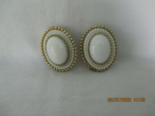 Napier---Large Oval Clip Earrings---White With Gold Metal