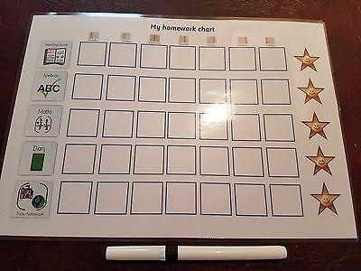 Daily Homework Reward Chart - Wipe clean- with pen- Starting School-Autism-SEN](Homework Chart)