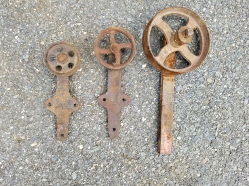 antique cast iron barn door rollers 3 sizes, architectural salvage lot