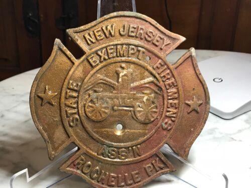 Orig Vintage Bronze Plaque Maltese Cross Rochelle Park NJ  State Exempt Firemens