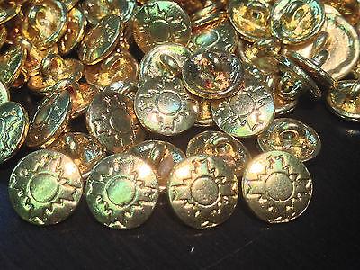 "13 Metal Buttons NAVAHO Pattern Gold Finish Shank Base 13/MM 1/2"""