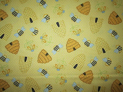 BEE HIVE BEES FLOWERS BUZZING YELLOW BLACK COTTON FABRIC FQ ](Bee Buzzing)