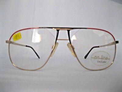 Vintage on-line Brillenfassung Pilotenbrille schwarz rot Metall neu Auflösung