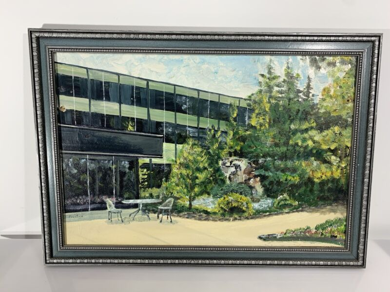 Original Art Painting Green MCM General Motors Tech Center Prentice Framed