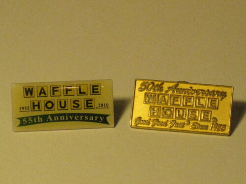 2 Waffle House anniversary pins 50th & 55th restaurant promotional