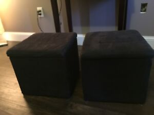 2 Black Storage Cubes / Stools