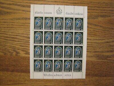 Liechtenstein Christmas S/S #491 lot of 4 sheets 20v each MNH OG (1 bend top lft