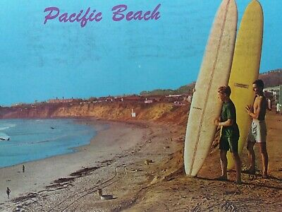 Pair of Surfer Dudes on Pacific Beach San Diego California Vintage Postcard 1965