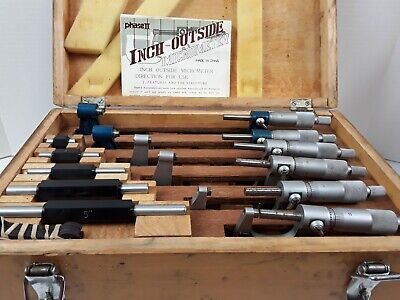 Vintage Phase Ii 107034 Precision Outside Micrometer Set