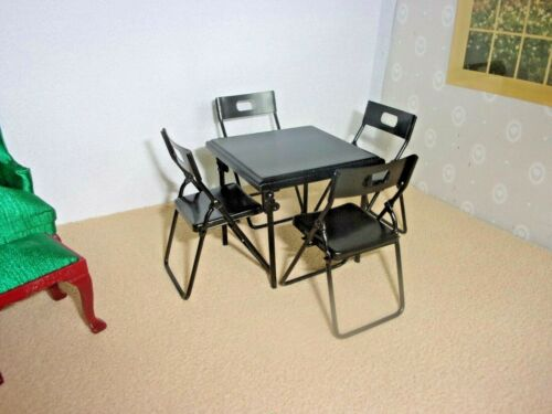 CARD TABLE AND 4 CHAIRS   - METAL   -   DOLL HOUSE MINIATURE