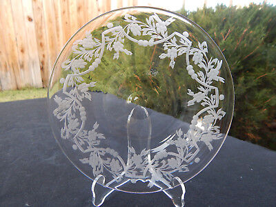 "AMERICAN BRILLIANT cut glass engraved 6"" plate SIGNED TUTHILL."