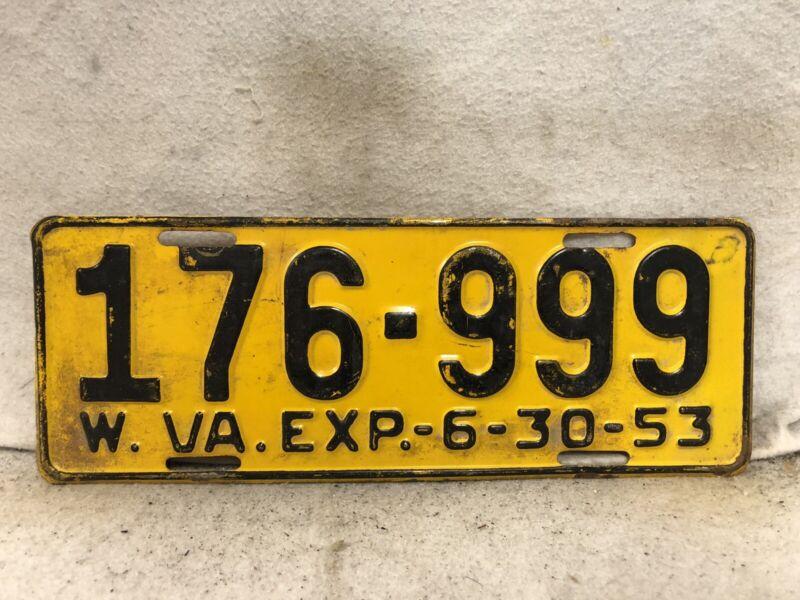 Vintage 1953 West Virginia License Plate