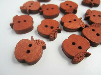 Wooden apple buttons 15x16mm - cute zakka natural scandi childrens