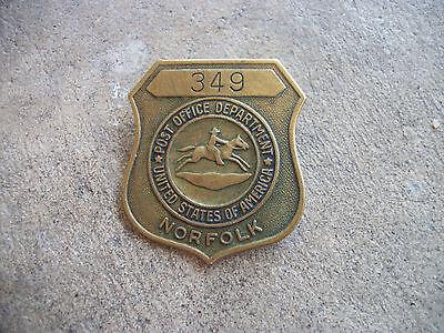 Vintage 1950 1960  Norfolk Virginia Post Office Us Mail Employee Id Postal Badge