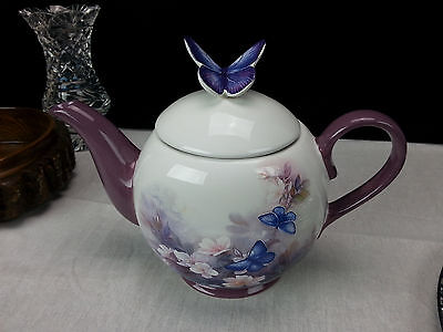 LENA Liu Blossoms & Butterflies Tea Pot Purple Flowers Butterfly Spring