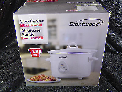 Slow Cooker 1.5 Quart Round White 3 Heat Settings Brentwood NEW IN BOX