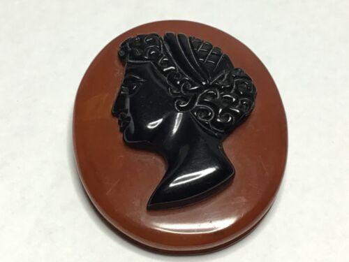 Vintage Large Black Carved  Bakelite Cameo Victorian Mourning butterscotc Brooch