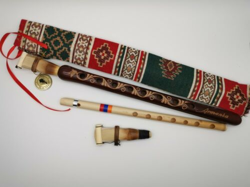Armenian DUDUK beautiful ornament with national case + flute + 2 reeds