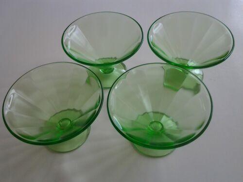 Vintage Federal Depression Green Optic Uranium Set of 4 Sherbert
