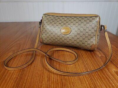 Vintage Gucci Crossbody Bag Micro GG Coated Canvas & Leather 1980's Mini Boston