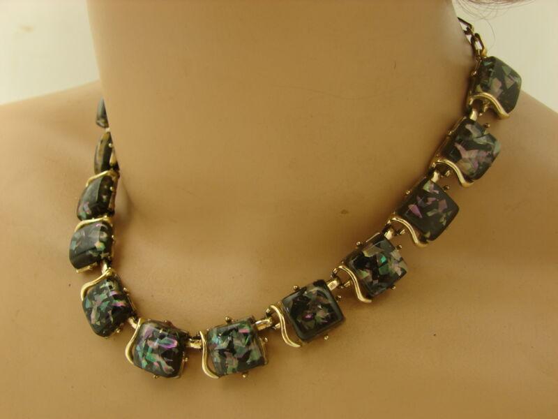 "Vintage Coro Gold Tone Black Confetti Lucite Thermoset Link Necklace 15 1/2"""
