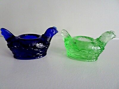 Set of 2 Mosser Art Glass HEN #112 Open Salt Dip Cellar 1980-90's BLUE GREEN
