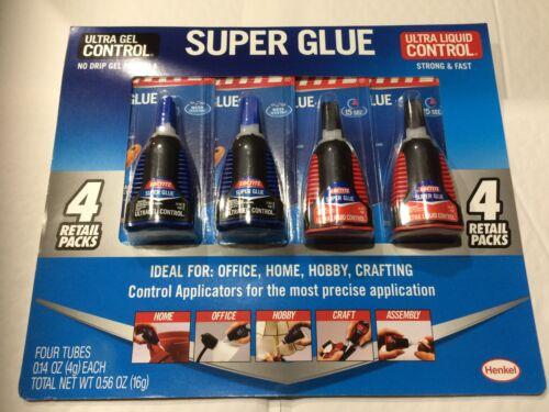 4 pc Loctite Super Glue (2 Ultra Gel Control & 2 Ultra Liquid Control) 4g Bottle