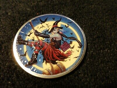 "2020 Silver Eagle Colorized""HAPPY HALLOWEEN with Harley Quinn"" very nice 1 of 10"