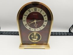 Seiko Quartz Desk Table Carriage Clock Gold Tone Brass QQW530G Anniversary Style