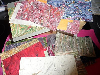 TWENTY offcuts of PRINTED, MARBLED, HAND-MADE & PLAIN COLOUR PAPERS