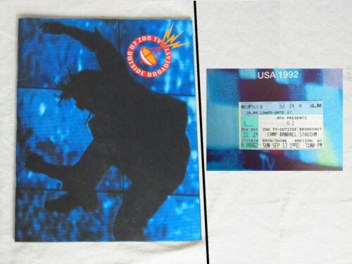 U2 ZOO TV Tour Concert Program Book 1992, Outside Broadcast USA, with my TICKET