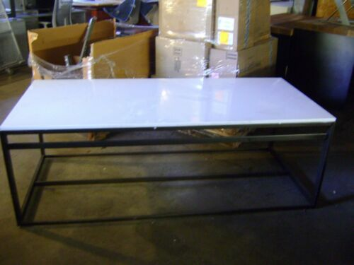 BLACK & WHITE METAL RETAIL TABLE W/ LAMINATE TOP