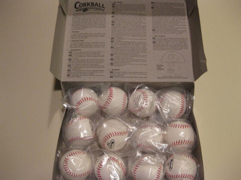 Lot of 12 Official Size CORKBALL Baseball Cork Ball Corkballs w/ Official Rules