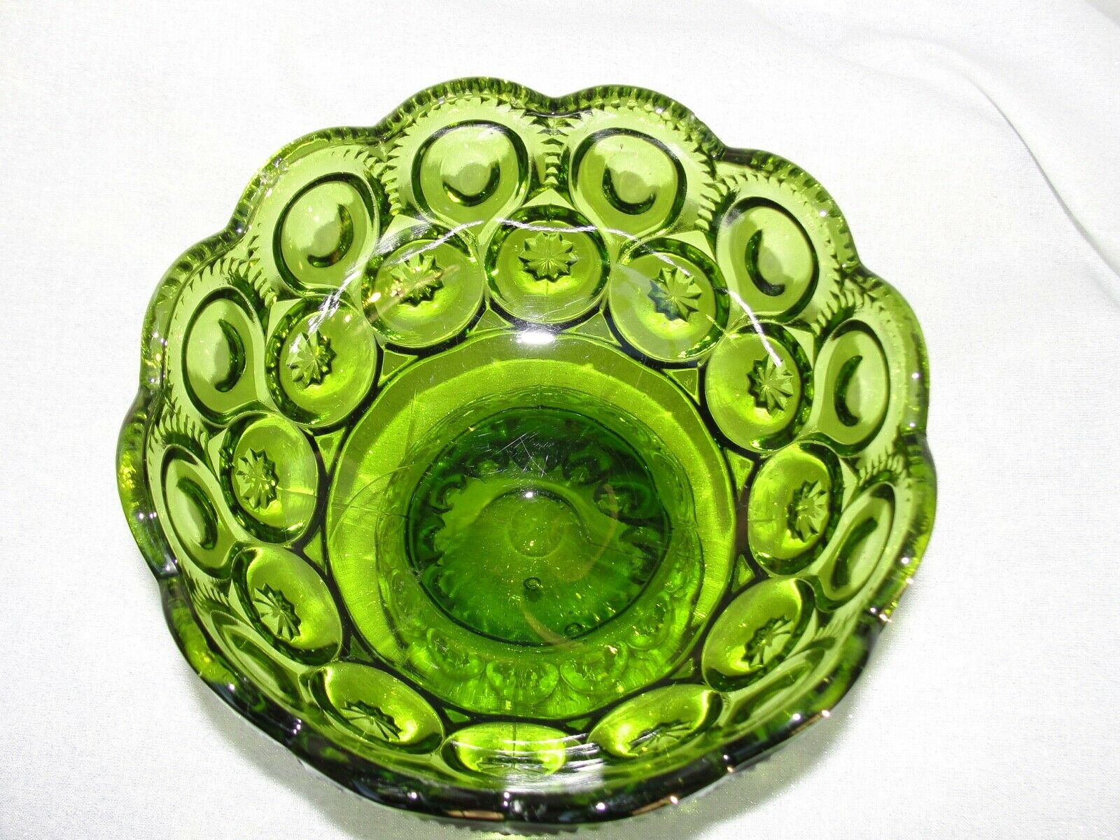 Vintage LE Smith Green Moon And Stars Pattern Glass Candy Dish  - $15.00