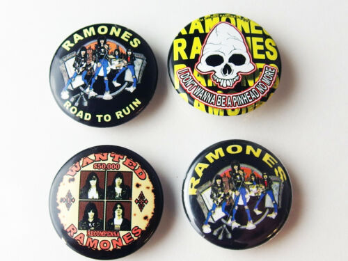 Ramones 4 x 1-inch Pin Button Set, NOS OOP Licensed