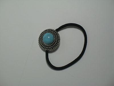 Türkis Haare Färben (Haargummi mit Ring-Ornament und Besatz Türkis Chrysokoll-farben Scünci)