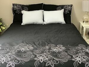 SOLD  Queen 6 piece embroidered comforter set