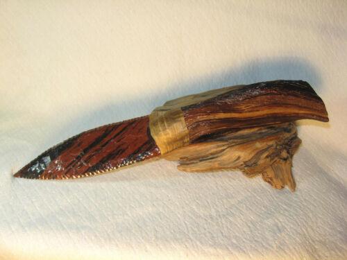 Large Tiger Stripe Obsidian Paleo Dagger Knife Manzanita Handle Flint Knapping