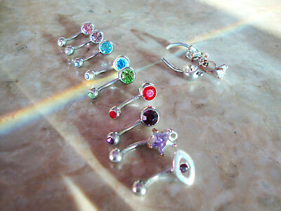 8 STAINLESS STEEL BELLY NAVEL BODY JEWELRY RINGS EVIL EYE 7 CRYSTAL FUN SET LOT