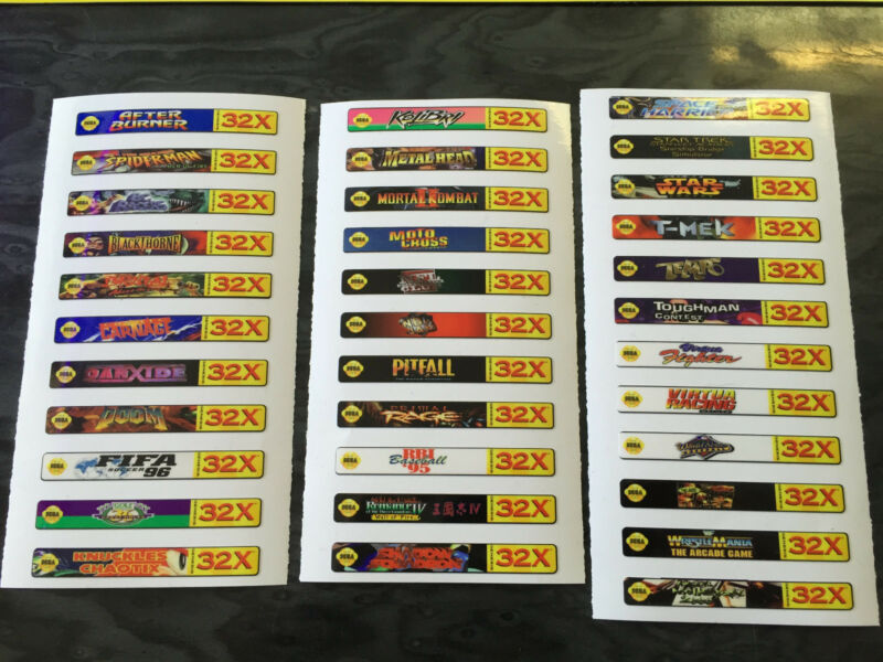 Sega Genesis 32x Sticker Labels (For All 34 Custom Cartridge Game Stickers)
